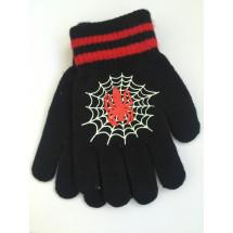 Перчатки осенние черного цвета с пауком