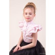 """Блузка розового цвета с коротким рукавом-двойным воланом """"Мотылек"""""""
