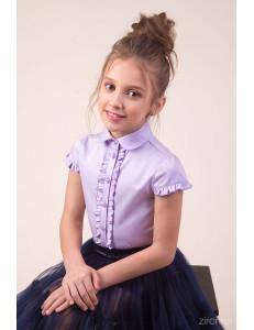 """Блузка сиреневого цвета с рюшем по полочке """"Юная модница"""""""