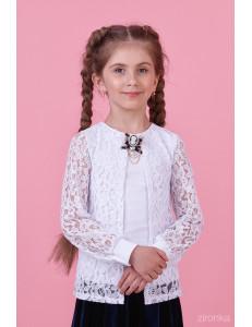 Блузка белого цвета с гипюром с эффектом двойной блузки
